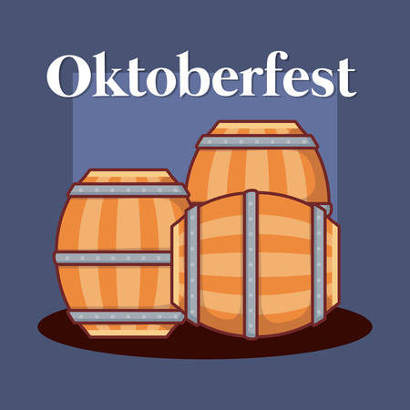oktoberfest label with barrel beer vector illustration design