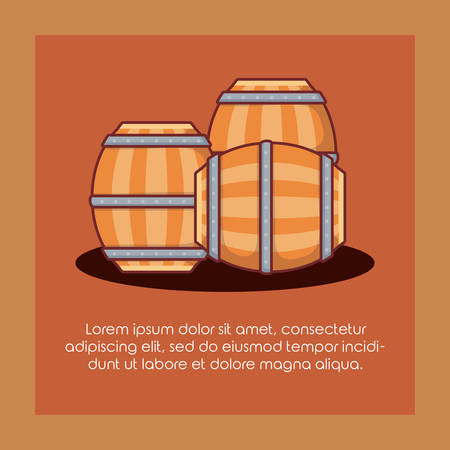 beer barrels wooden icon vector illustration design 向量圖像