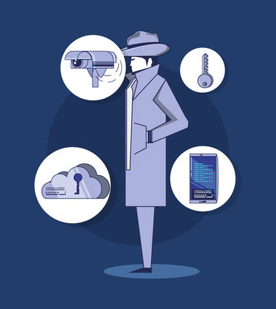 detective and privacy policy icon set over white circles and blue background, colorful design. vector illustration