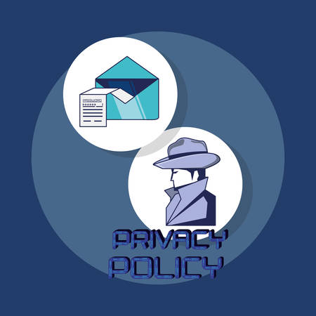 privacy policy icon set over white circles and blue background, colorful design. vector illustration