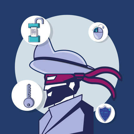 privacy policy design with detective and related icons around over blue background, colorful design. vector illustration
