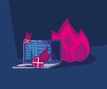 privacy policy design with laptop computer adn flames over blue background, colorful design. vector illustration