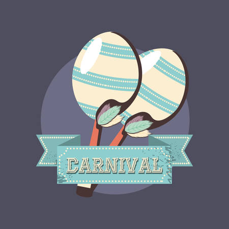 carnival musical maracas instrument retro vector illustration