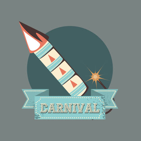 carnival fireworks celebration retro vintage vector illustration Çizim