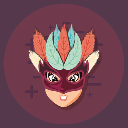 beautiful woman with mask carnival vector illustration