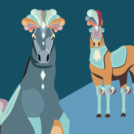 two elegant horses animals carnival circus vector illustration Çizim