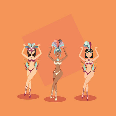 three women characters in exotic dress carnival vector illustration 向量圖像