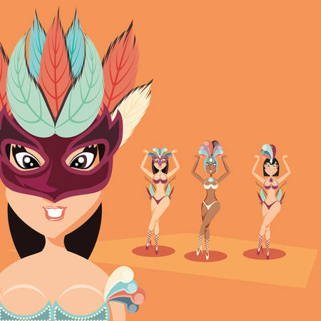 group carnival women dress costume festival vector illustration