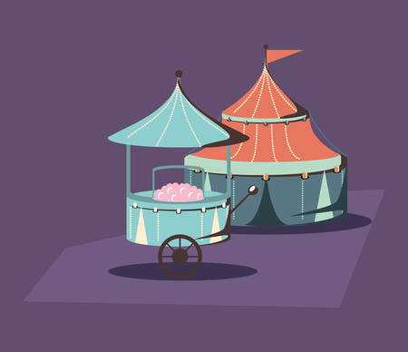 carnival circus tent and food booth retro vector illustration