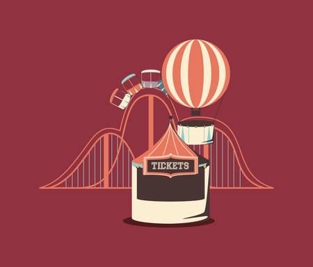 carnival roller coaster hot air balloon booth ticket retro vector illustration