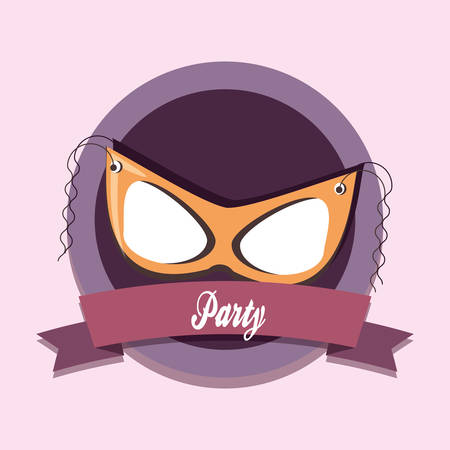 emblem of party design with decorative ribbon and carnival mask over purple background, colorful design. vector illustration