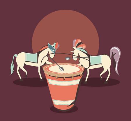 carnival horses drum instrument over red background, vector illustration