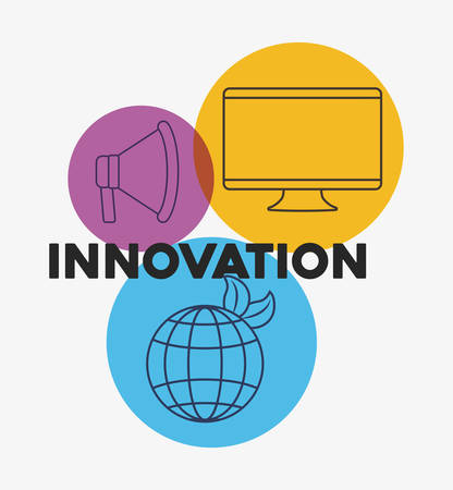 innovation and technology icon set over colorful circles and white background, vector illustration Vecteurs