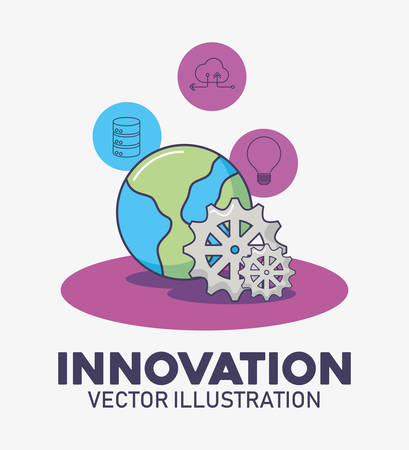 world planet and gear work technology innovation vector illustration
