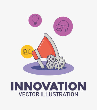 megaphone gears marketing technology innovation vector illustration Çizim