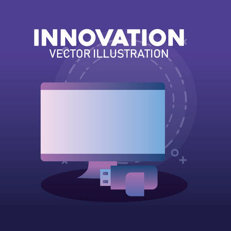 innovation and technology design with computer and usb over purple background, colorful design. vector illustration