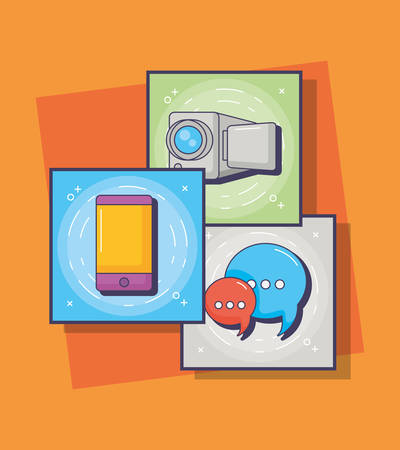 innovation and technology icon set over colorful squares background, vector illustration