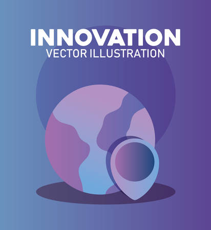innovation and technology design with earth planet and location pin over purple background, colorful design. vector illustration