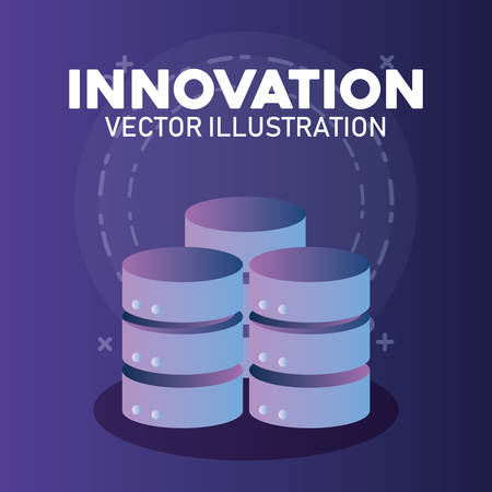 innovation and technology design with data servers over purple background, colorful design. vector illustration