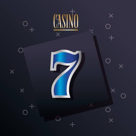 casino design with seven icon over black background, colorful design. vector illustration