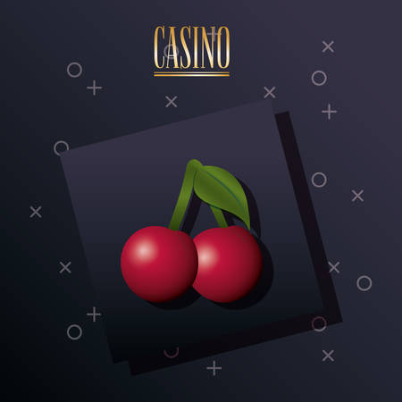 casino design with cherries icon over black background, colorful design. vector illustration