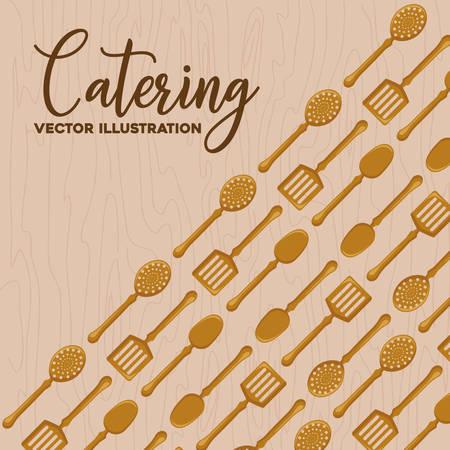 Antecedentes del concepto de catering con patrón de utensilios de cocina, diseño colorido. ilustración vectorial