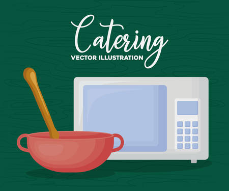 catering design with microwave and bowl over green background, colorful design. vector illustration 일러스트