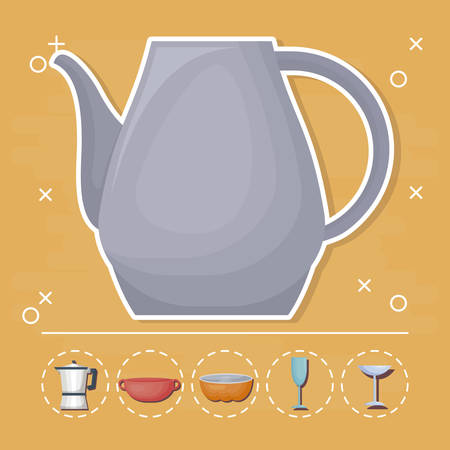 pitcher and cooking utensils around over yellow background, colorful design. vector illustration