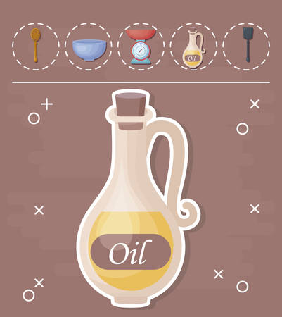 oil bottle and cooking utensils around over brown background, colorful design. vector illustration