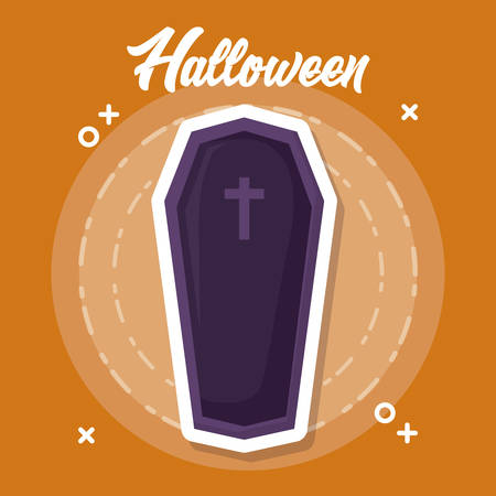 halloween celebration design with coffin with cross icon over orange background, colorful design. vector illustration