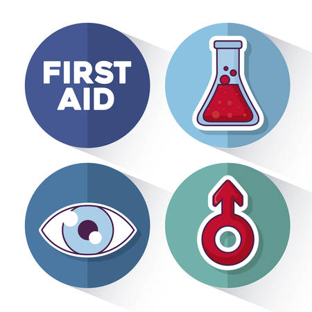 First aid icon set over colorful circles and white background, vector illustration