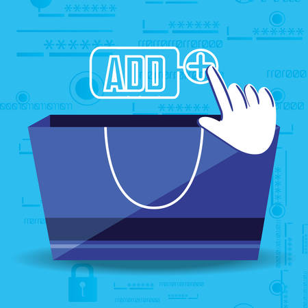 on line shopping with bag add vector illustration design