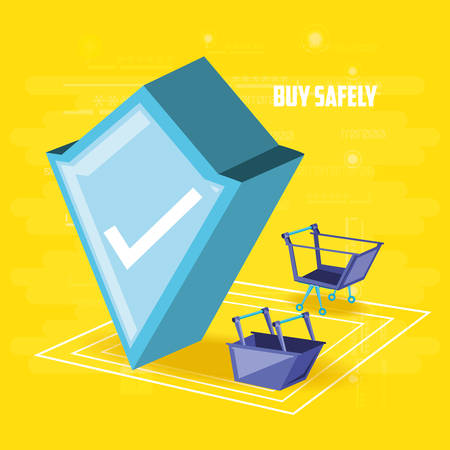 buy safely online with shield vector illustration design Stock Illustratie