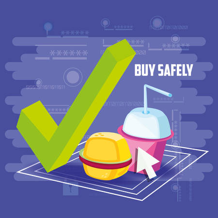 buy safely online with fast food vector illustration design