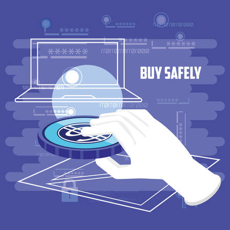 buy safely online with laptop vector illustration design