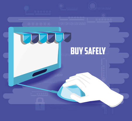 buy safely online with hand using mouse vector illustration design Stock Illustratie