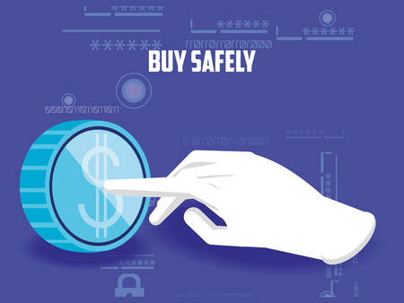 buy safely online with hand and coin vector illustration design