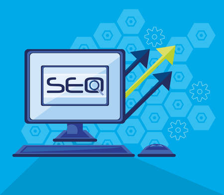 search engine optimization with desktop vector illustration design