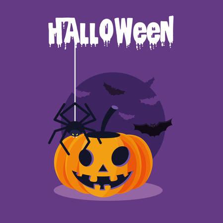 halloween card with pumpkin character vector illustration design
