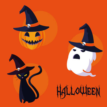 Halloween-Karte mit Vektorillustrationsdesign der eingestellten Zeichen Vektorgrafik