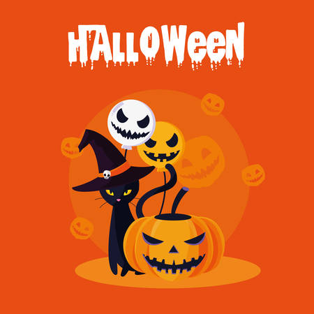 halloween card with pumpkin and cat characters vector illustration design
