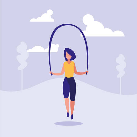 woman practicing rope jump character vector illustration design