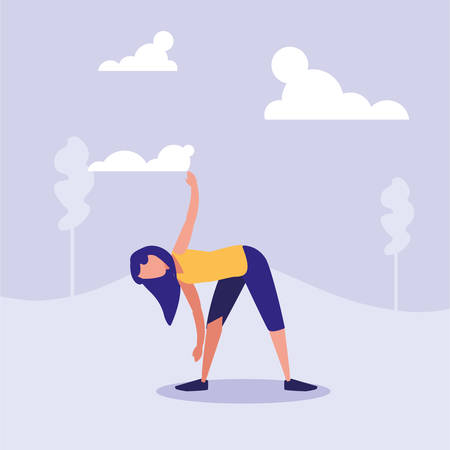 woman practicing stretching in landscape vector illustration design