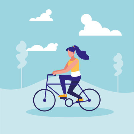 woman practicing cycling in landscape vector illustration design Vectores