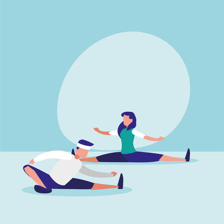 couple practicing stretching avatar character vector illustration design Vectores