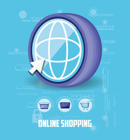online shopping with browser vector illustration design