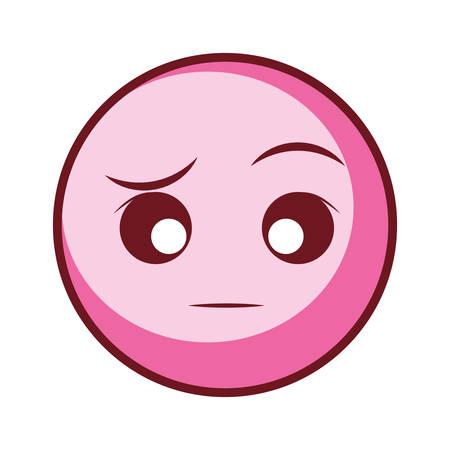 sarcastic face emoji over white background, vector illustration