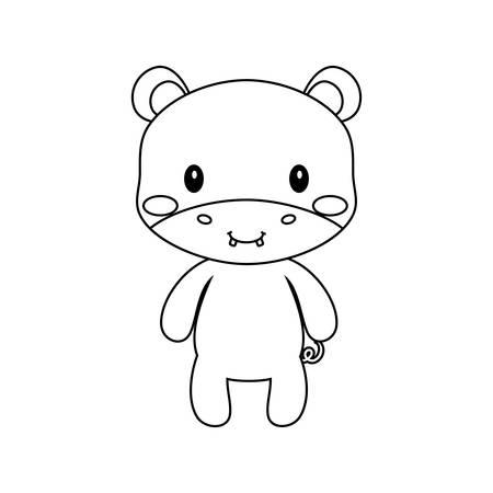 cute hipoppotamus icon over white background, vector illustration