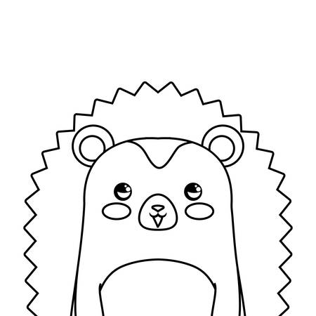 cute porcupine icon over white background, vector illustration