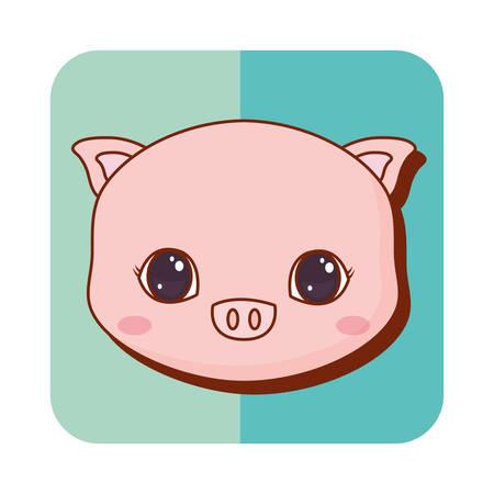 cute pig over background, vector illustration